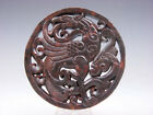 Old Nephrite Jade 2 Sides Carved LARGE Pendant Dancing Phoenix Dragon #09171806