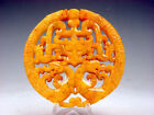 Old Nephrite Jade 2 Sides Carved LARGE Pendant 2 Dragon 2 Phoenix Ox #09171808