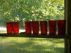 SET OF 7 BEAUTIFUL RUBY RED VINTAGE ANCHOR HOCKING GLASS HOBNAIL TUMBLERS