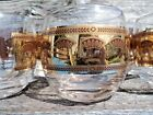 7 Vintage MCM Barware Culver Festival Roly Poly 22K Gold Wheat Pattern Signed