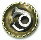 BB Antique Brass Button w/ Cut Steel French Horn - 9/16