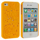 NEW 3D Rose Flower Hard Back Cover Protective Cell Case iPhone 4 4S 4G orange