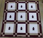 RARE Native American Patchwork Baby Indian BOY Quilt Crib Blanket Maroon Tan Wht