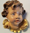 Vintage Carved Cherub/Angel Head 3D Hanging Wall Ornament