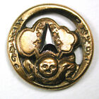 BB Antique Pierced Brass Button Chinese Tumbler w/ Arrow Shape Cut Steel - 5/8