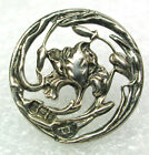 Antique Sterling Button Pierced Art Nouveau Iris Flower Design 13/16