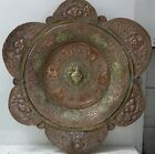 VERY UNUSUAL LARGE OLD METAL PLAQUE WITH FIGURAL DECORATION - INFO WELCOME RARE
