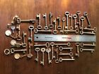 LOT of 36 solid barrel SKELETON keys ANTIQUE vintage