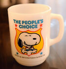 Anchor Hocking Fire King THE PEOPLES CHOICE #4 Snoopy Mug  1980 Milk Glass Cup