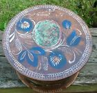 Old Paint Decorated Turned Wood Box W/lid Botanical Herbal Homeopathy Patinated