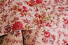 Antique French Provence LARGE hand quilted 1880 QUILT floral fabrics 2 faces