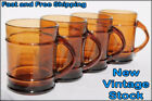 4 NOS VINTAGE ANCHOR HOCKING AMBER BROWN BARREL STYLE COFFEE MUGS CUPS