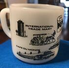 FEDERAL GLASS WHITE MILKGLASS CUP MUG NEW ORLEANS LOUISIANNA BLACK AND WHITE