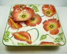 Clay Art Hor doeuvres Serving Platter Ceramic Poppies Matching Bowl