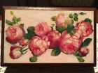 """Old French Wooden Box with Carton Bouilli & Decoupage Roses 9.25"""" x 5.9"""" x 2"""""""