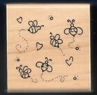 HONEY BEE TRAIL Love Insect Flight Heart JRL DESIGN CTMH wood mount RUBBER STAMP