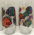 Vintage Set of 2 Libbey Tropical Fish Pattern Drinking Glasses