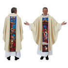 B4929 One Chasuble w Digitally printed Christmas Stained Glass Nativity Pattern