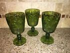 THREE Bartlett Collins Manhattan Green Water Goblets VERY NICE # 0393