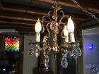 Antique  4 Arm Ornate Solid Brass Chandelier with lot's of Glass  crystals