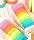 10 Pcs Writable Rolls Paper Washi Masking Tape Rainbow Sticky Adhesive US