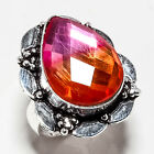 FACETED BI-COLOR MYSTIC TOPAZ GEMSTONE 925 SILVER JEWRLRY RING 8.75