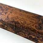 Antique Tramp Art Hand Carved Trinket Wooden Box with Hinged Lid Signed 1908