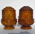 2 MINT Stars and Bars Amber Fairy Lamps Candle Holder Indiana Glass 1960s 4 pc B
