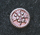 Antique small white-metal button with floral design, purple/ruby coating, 1/2