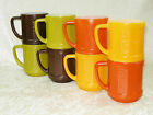 VINTAGE FEDERAL GLASS BARREL COFFEE MUGS SET OF 8 GREEN YELLOW ORANGE BROWN