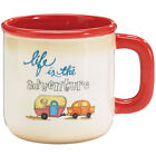 NEW Life Is The Adventure Camper Mug Hand Painted 21 Ounce Ceramic Coffee Cup