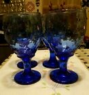 Vintage Libbey Hobnail Bubble Blue Cobalt Goblets 1940's- 60's Rock Sharpe Set 4