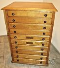 RARE Antique Optometrist Spectacles Eyeglasses Cabinet Chest Solid Oak 10 Drawer