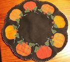 Primitive Wool Applique Fall/Autumn Pumpkin Scalloped Penny Rug Candle Mat 13