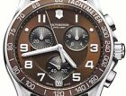 NWT Victorinox Swiss Army Chronograph Classic Watch 241498.1 Brown Leather Strap