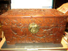 VINTAGE UNKNOWN HAND CARVED WOODEN JEWELRY BOX TRINKET BOX GOOD CONDITION