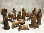 14pc Anri Italy Germany Hand Carved Wood Nativity Set Stable