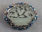CHINESE EXPORT BROOCH SILVER FILIGREE ENAMELED CARVED WHITE NEPHRITE JADE 1-7/8