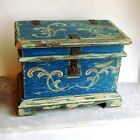 Antique Folk Art Blue Painted, Decorated Box Pennsylvania German Style Iron Hasp