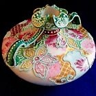 NIPPON Hand Painted Floral Double Handle VASE Heavy Gold w Moriage