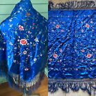 Vintage Chinese Silk EMBROIDERED PIANO SHAWL MANTILLA Bright Blue With Flowers