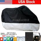 XXXL Black&Silver Waterproof Motorcycle Cover For Cruiser Chopper Bobber Touring