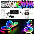 5 10Pack RGB LED Quiet Computer Case PC Cooling Fan 120mm w Remote Control LOT