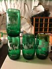 ANCHOR HOCKING FIRE KING FOREST GREEN 4 TUMBLERS THEMED CHRISTMAS WINTER