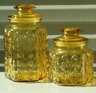 2~ VINTAGE ~ L.E. SMITH ~ IMPERIAL ATTERBURY SCROLL ~ Amber Glass Canisters