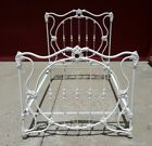 Vintage Heavy iron white victorian Ornate Full Double Bed frame yard fence gate