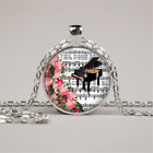 Vintage piano music notes Glass Cabochon Tibet silver Pendant Chain Necklace