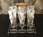 Vintage Fluted Champagne (6)Glasses Frosted With Gold Trim And Leaves with Caddy