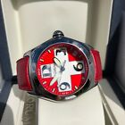 Corum Bubble Swiss Flag 163.150.20 45mm Stainless Steel Red Leather Wristwatch
