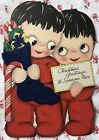 Vintage 1940s Christmas Card Cute Children in Red Pajamas w Blue Felt Stocking
